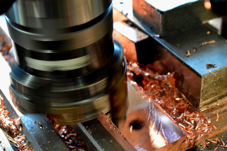 cupper: Milling cutter cutting copper plate.