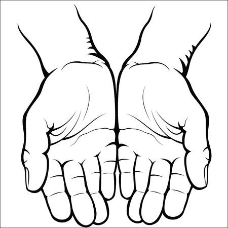 alzando la mano: Las palmas abiertas vacías