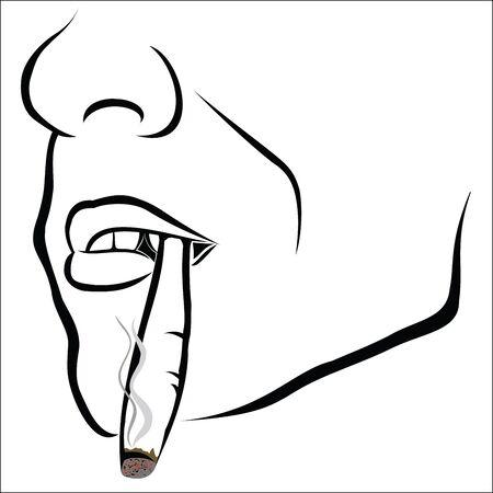 marihuana: Bosquejo de la cara con el cigarrillo Vectores