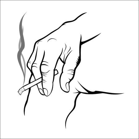 Hand holding cigarette Illustration
