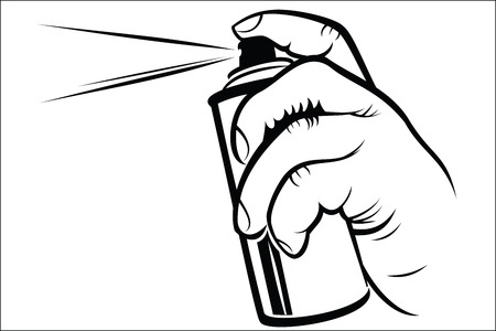 propellant: Hand holding spray