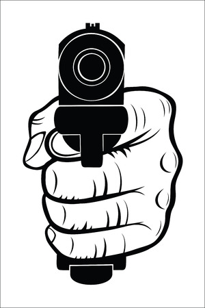 holding gun: Hand pointing with the gun at you