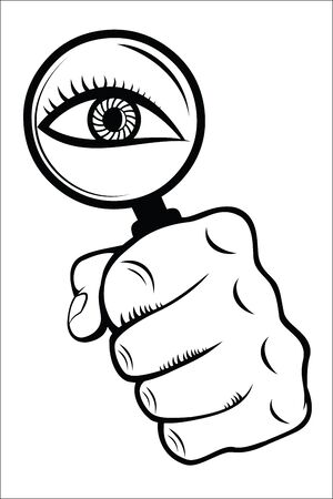 perceive: Magnifying Glass with Eye Illustration