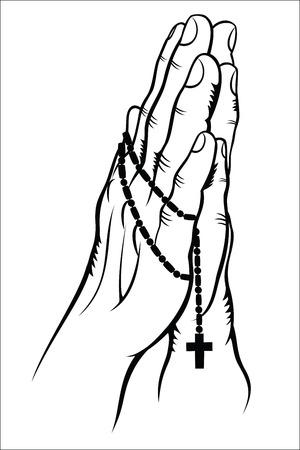 orando manos: Orando con un rosario