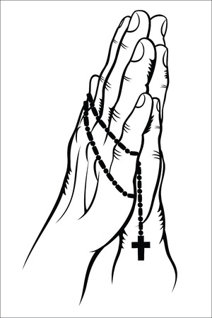 christian prayer: Praying with a Rosary Illustration