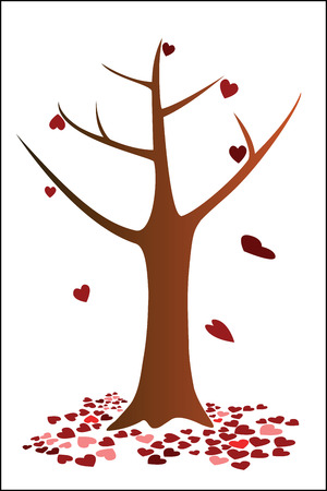 falling down: Tree and heart falling down Illustration