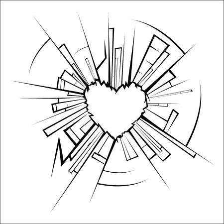 Broken glass and heart Illustration