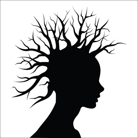 black woman face: Head silouete with tree and hair