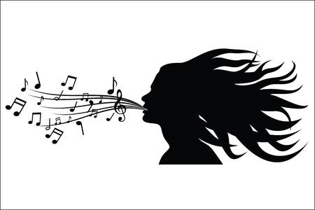 Sing woman silhouette Vettoriali