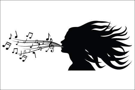Sing woman silhouette Illustration