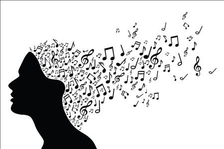 notas musicales: Silueta de la cabeza de la mujer con las notas musicales