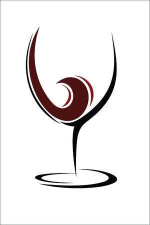 glass with red wine: Glass of wine design