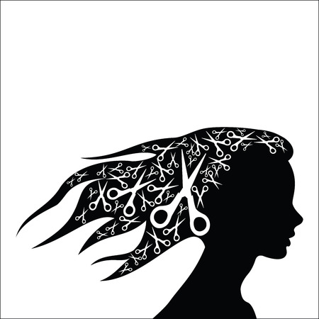 Woman hair with scissors