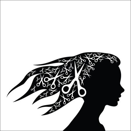 Femme cheveux avec des ciseaux Vecteurs