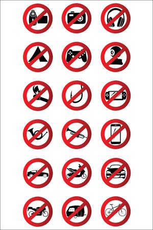 Stop icons set.