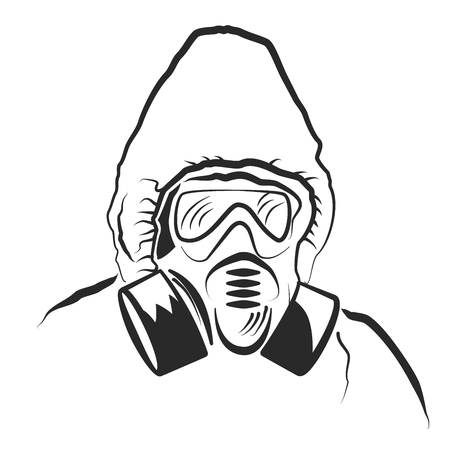 Man in gas mask Ilustracja