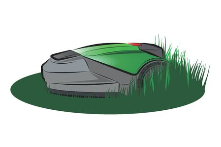 Robotic Lawn Mower.Vector cartoon illustration isolated on white background.