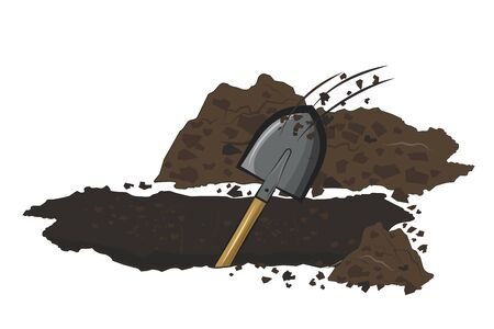 Digs a pit with shovel.Vector cartoon illustration isolated on white background.