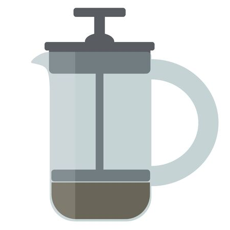 Coffee french press.Vector cartoon illustration isolated on white background. Illustration
