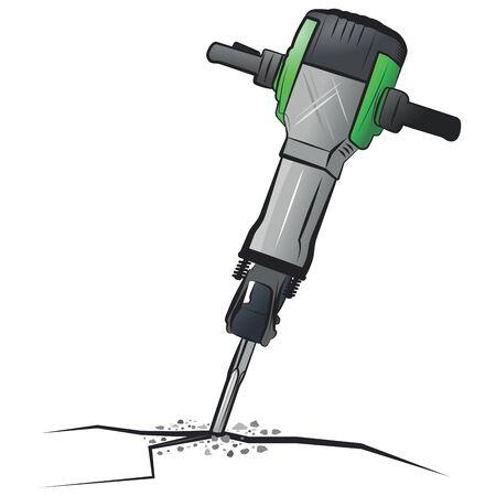 Jackhammer.Vector cartoon illustration isolated on white background.