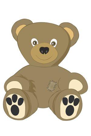 Teddy bear.Vector cartoon illustration isolated on white background. Vettoriali
