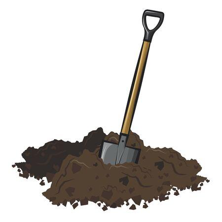 Shovel in soil.Vector cartoon illustration isolated on white background.