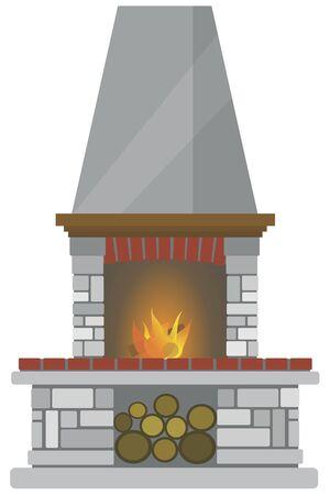 Brick Fireplace.Vector cartoon illustration isolated on white background.