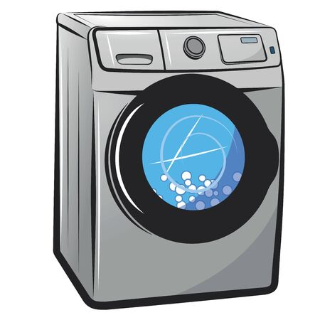 Washing machine. Vector cartoon illustration isolated on white background.