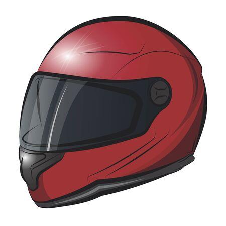 Biker protection helmet.Vector cartoon illustration isolated on white background.