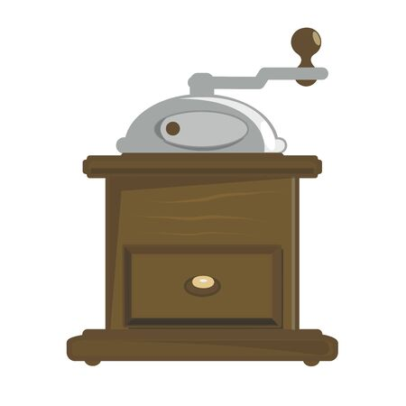 Manual coffee grinder.Vector cartoon illustration isolated on white background. Vettoriali