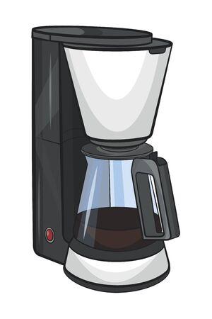 Coffee machine.Vector cartoon illustration isolated on white background. Vettoriali