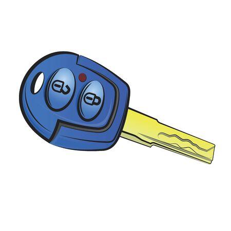 Car Key.Vector cartoon illustration isolated on white background.