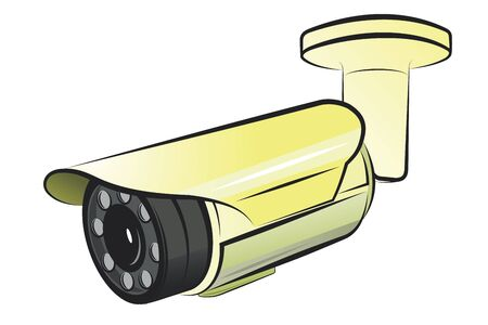 CCTV security camera.Vector cartoon illustration isolated on white background.