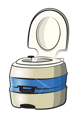 Portable chemical toilet.Vector cartoon illustration isolated on white background.