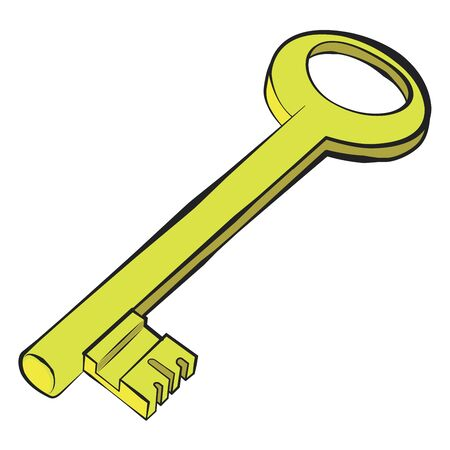 Golden key.Vector cartoon illustration isolated on white background. Illustration