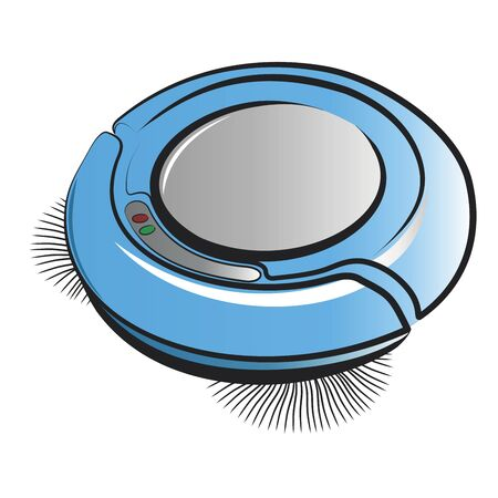 Robotic vacuum cleaner.Vector cartoon illustration isolated on white background.