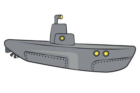 Submarine.Vector cartoon illustration isolated on white background.