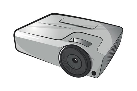 LCD projector.Vector cartoon illustration isolated on white background.