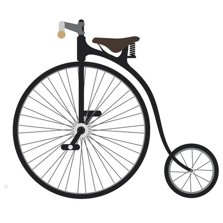 Vintage bycicle.Vector cartoon illustration isolated on white background.