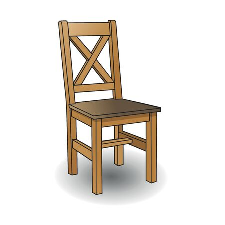Wooden chair. Vector cartoon illustration isolated on white background.