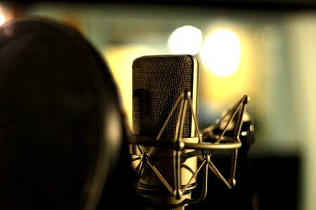 recording studio: Studio condenser microphone behind pop filter