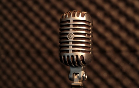 shure: Vintage Elvis Microphone in Studio Stock Photo