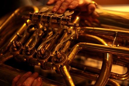 tuba: Tuba Playing Close Up