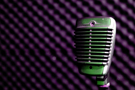 shure: Vintage Microphone in Purple Light Stock Photo