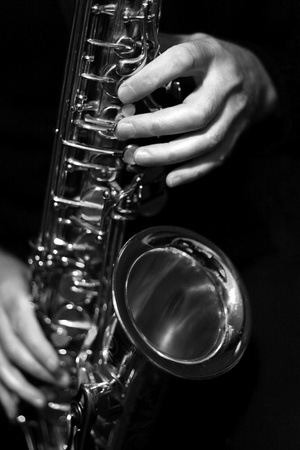 Saxophone Black And White Playing photo