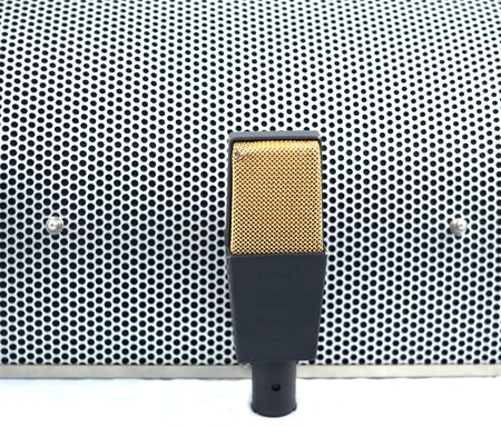 Microphone on Acoustic Sheet Stock Photo