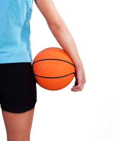 Young beautiful female basket ball player, training Stock Photo