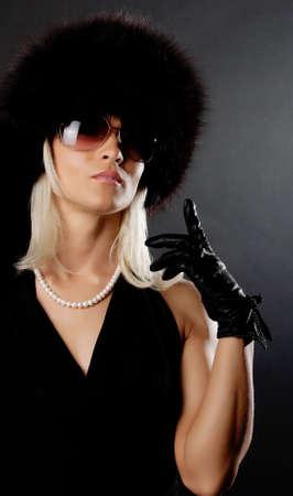 Portrait of sexy elegant lady wearing black gloves Stock Photo - 6003973
