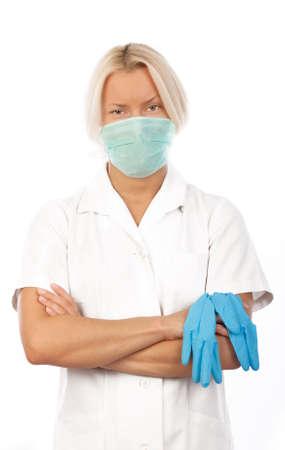expertize: Picture of attentive nurse in white uniform