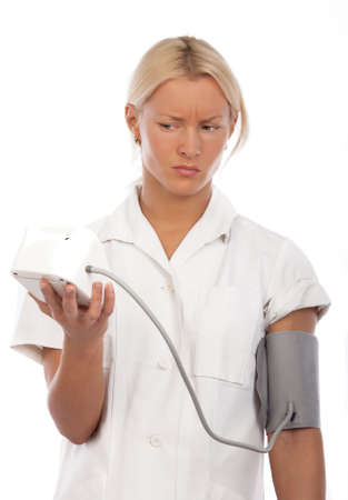Picture of blonde checking blood pressure Stock Photo - 6162903